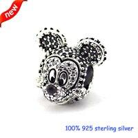 Fits Pandora Bracelets Sparkling Mickey Portriat Silver Beads 100% 925 Sterling Silver Charms DIY Jewelry Wholesale 09287