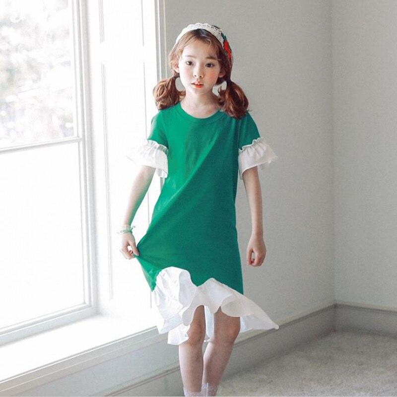 DFXD Adolescentes Vestidos de Meninas 2018 Novo Verão de Manga Curta Costura Vestido de Princesa Trajes Meninas Crianças Coreanas Vestido 4-15Y