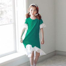 DFXD Teens Girls Dresses 2018 New Summer Short Sleeve Stitching Princess Dress Costumes Korean Children Vestido 4-15Y