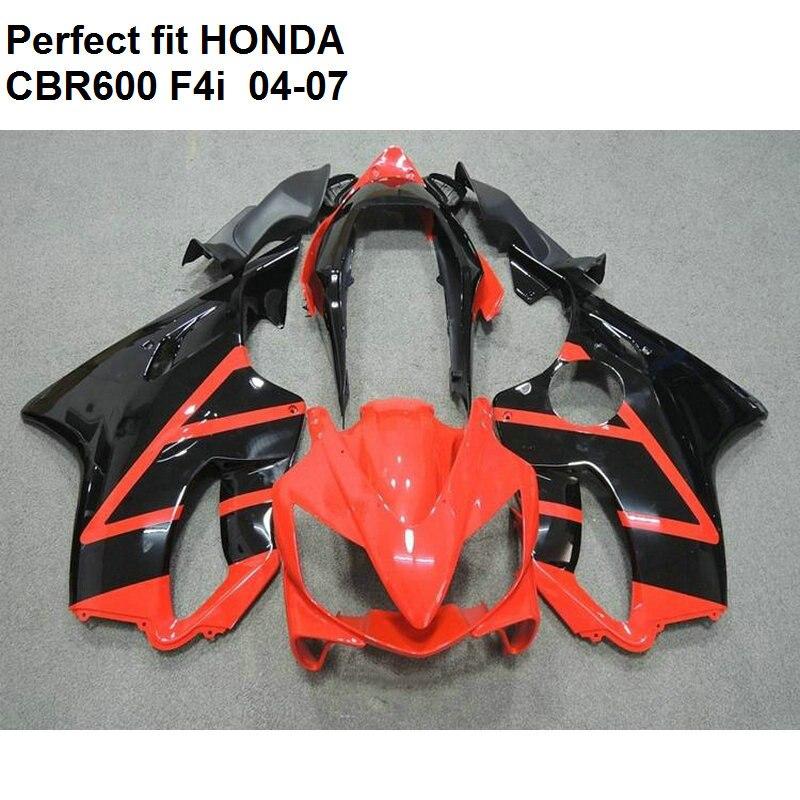 ABS plastic fairing for Honda CBR 600 F4i 04 05 06 07 fairings kit CBR600F4i 2004 2007 red black OW06