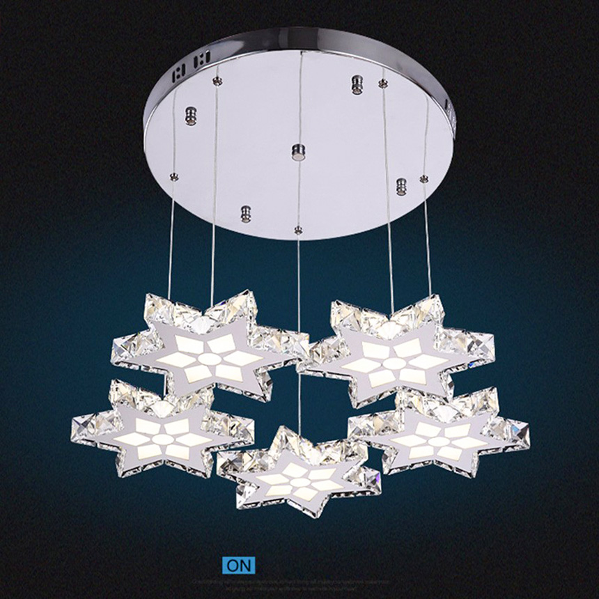 New 45W Modern Crystal Pendant Light LED Gold Stars Stainless Hanging Light Lamp Fixture for Dining-room Bedroom Hotel Lighting crysta lamp pendant lights lounge dining room bedroom lamp lychee simple new european style warm crystal hanging lamp