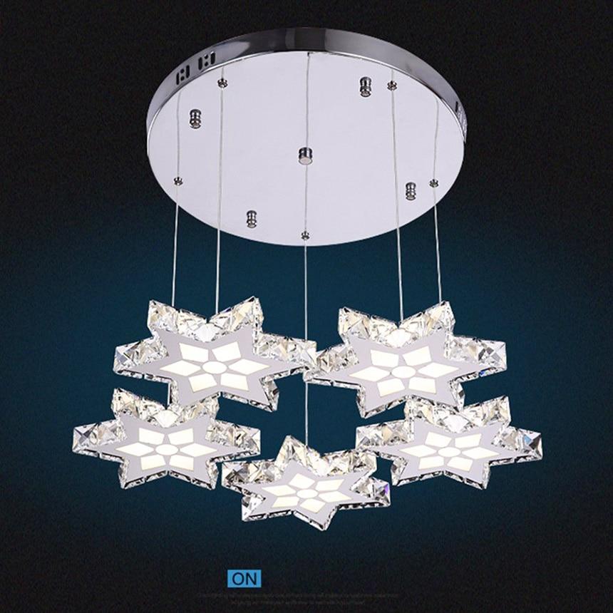New 45W Modern Crystal Pendant Light LED Gold Stars Stainless Hanging Light Lamp Fixture for Dining-room Bedroom Hotel Lighting