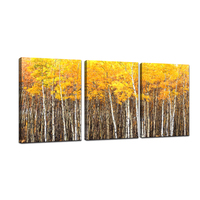 Abstract Yellow Tree 3 Pcs Long Canvas Paintings Posters And Print For Living Room Wall Art Mural Home Decor Wooden Framed