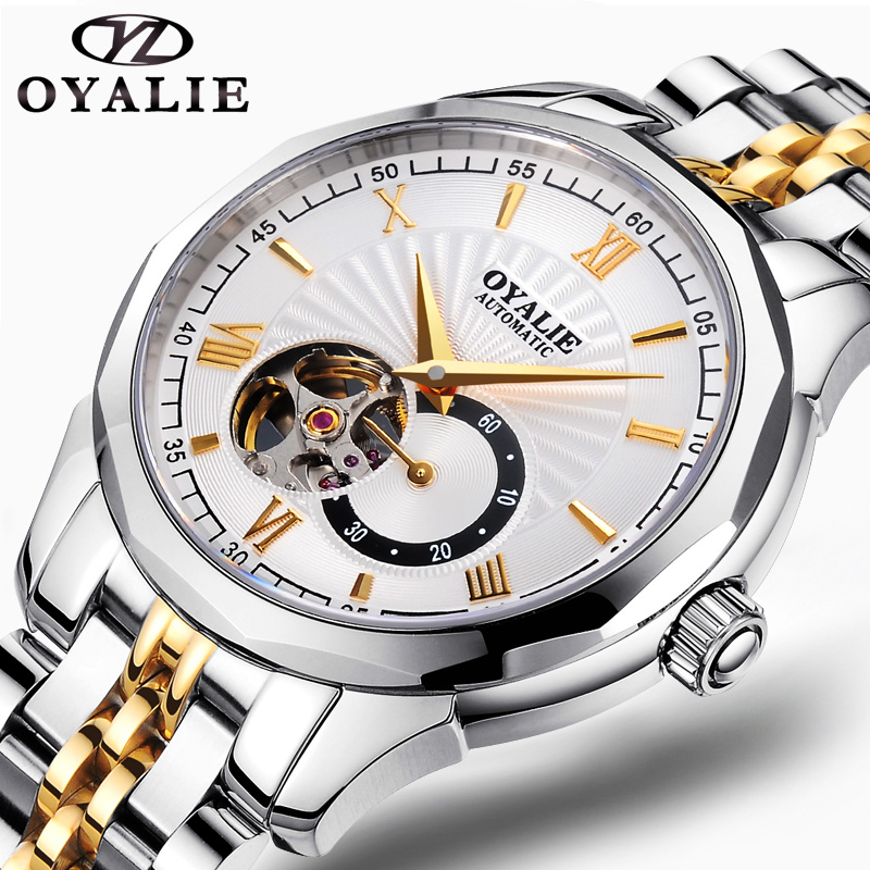Fashion OYALIE Men Luxury Brand Stainless steel Tourbillon Watch Automatic Mechanical Wristwatches Gift Box Relogio Releges winner women luxury brand skeleton genuine leather strap ladies watch automatic mechanical wristwatches gift box relogio releges
