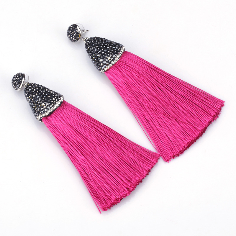 Boho PINK Collection Light Dark Hot Pink Silk Chunky Thick Tassel Rhinestone Cap charm Studs Dangle Tassel Earrings For Women