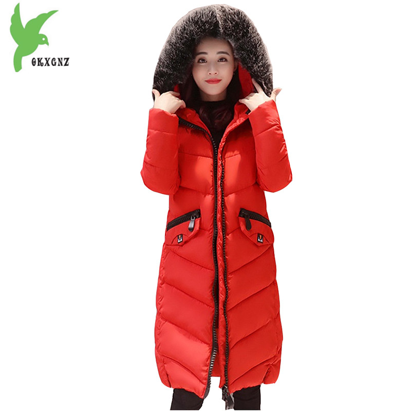 New Winter Women Down Cotton Coats Fashion Plus Size Solid Color Hooded Fur Collar Long Style Casual Keep Warm Jackets OKXGNZ 82 new winter women cotton jackets solid color hooded long coat plus size fur collar thicker warm slim casual outerwear okxgnz a795