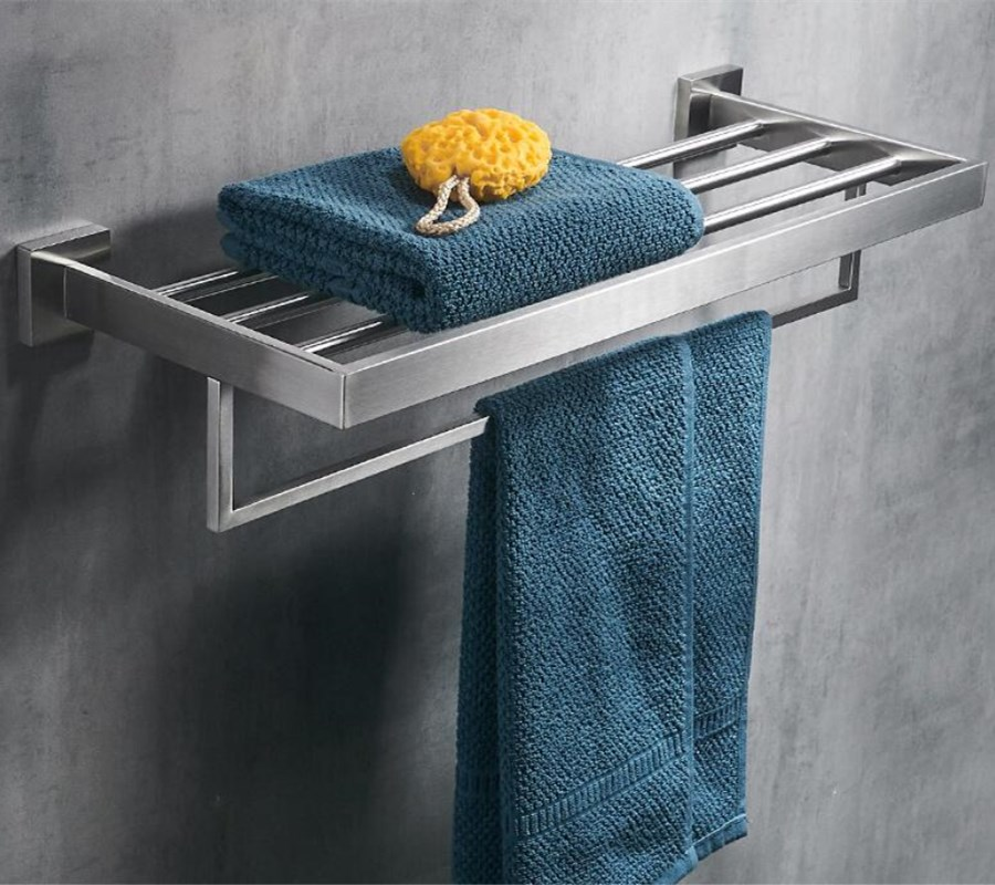 Bathroom Square Bath Towel Rack Stainless Steel Chrome finished high Quality Wall Mounted Towel Rail Holder Toilet Bar