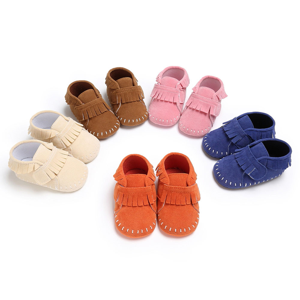 Tassels Cotton Bottom PU Leather Baby Shoes Baby Moccasins Fashion Boy Girl Newborn Crib Soft Sole Shoe Sneakers Size 2.5-4