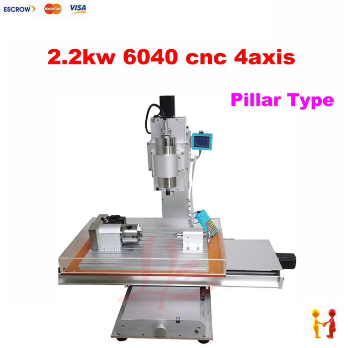 Pillar type 2200W 4 AXIS CNC Milling Machine Mini CNC 6040 Router for wood marble metal stone cnc 5 axis a aixs rotary axis plate type disc type for cnc milling machine