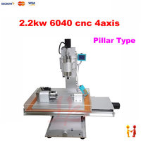 Pillar type 2200W 4 AXIS CNC Milling Machine Mini CNC 6040 Router for wood marble metal stone