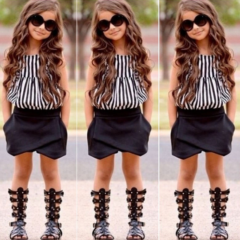 5a3999d062f2 2018 Summer New Fashion Girls 2PCS Clothing Set Striped Top+Black Shorts  Casual Girls Clothes