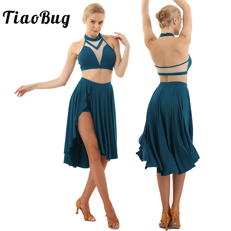 <font><b>TiaoBug</b></font> Women Halter Sleeveless Backless Crop Tops Ballet Tutu Latin Skirt Set Asymmetrical Contemporary Lyrical Dance Costumes image