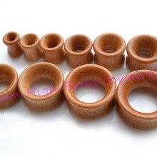 Коричневый Деревянный туннель Ушная шина пирсинг Модная бижутерия для пирсинга 8 мм~ 20 мм двойные расклешенные серьги для женщин