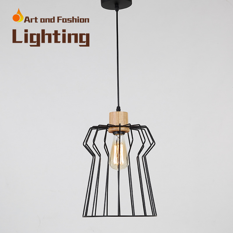 Nordic simplicity light American creative lights for restaurant cafe bar Personality single-head iron wood pendant lampCY-DD-236 classical chinese food industry restaurant bar cafe original wood single head pendant lights rmy 0247