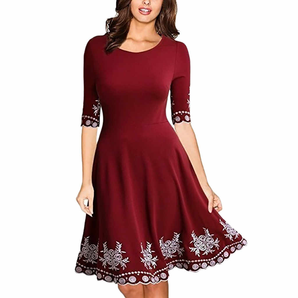 ドレスの女性のファッション O ネックのセクシーなドレスプリントカジュアルスリム S-5XL ミニドレス女の子