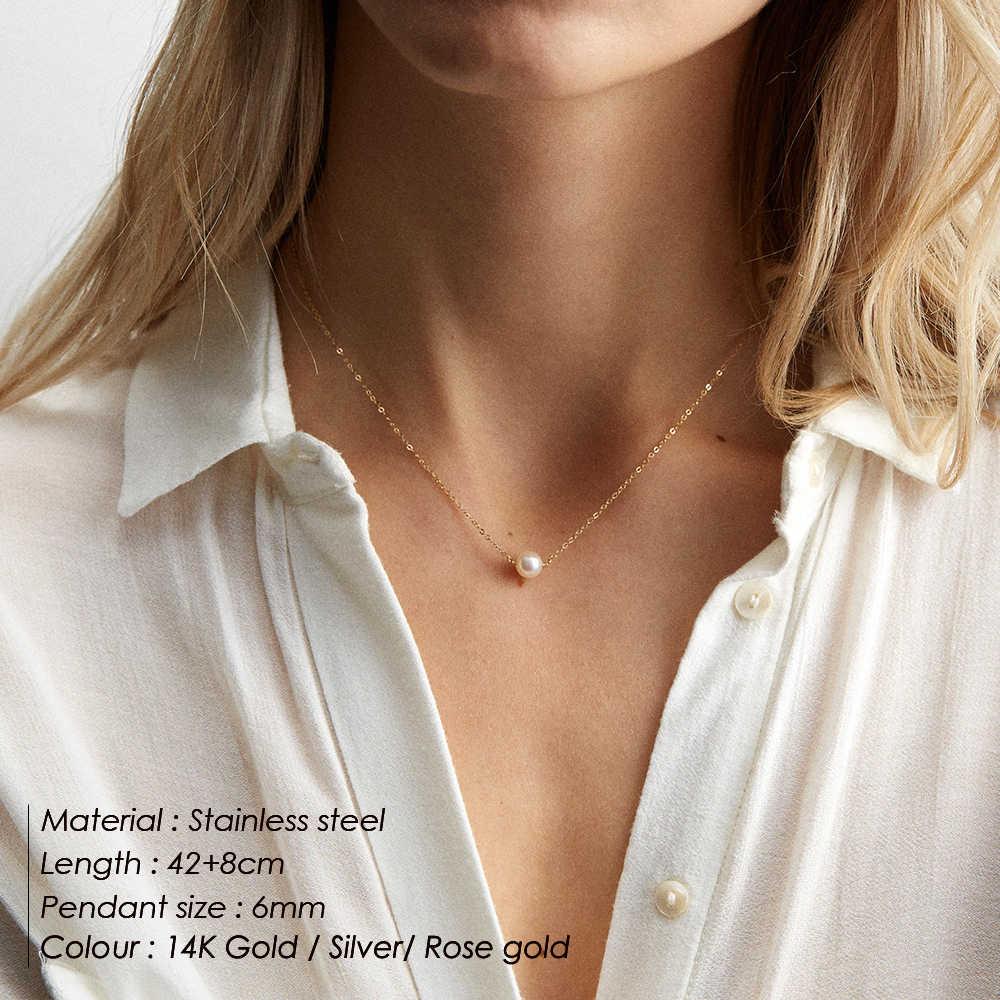 E-manco klasyczny ze stali nierdzewnej naszyjnik prosty wisiorek z imitacją perły naszyjnik Choker dla damski łańcuszek naszyjniki