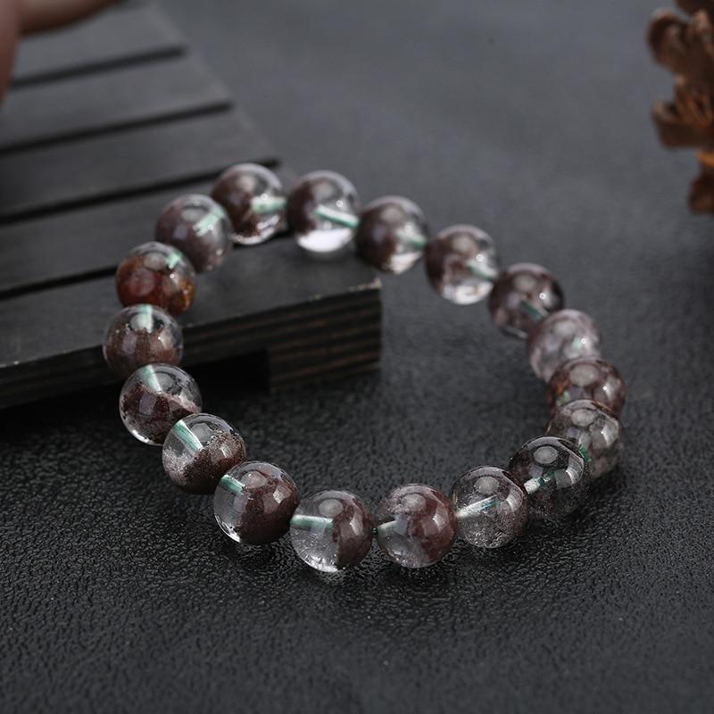 Natural High Quality Clear Genuine Cornucopia Green Phantom Crystal Quartz Bracelet Real Color Ghost Gem Stone