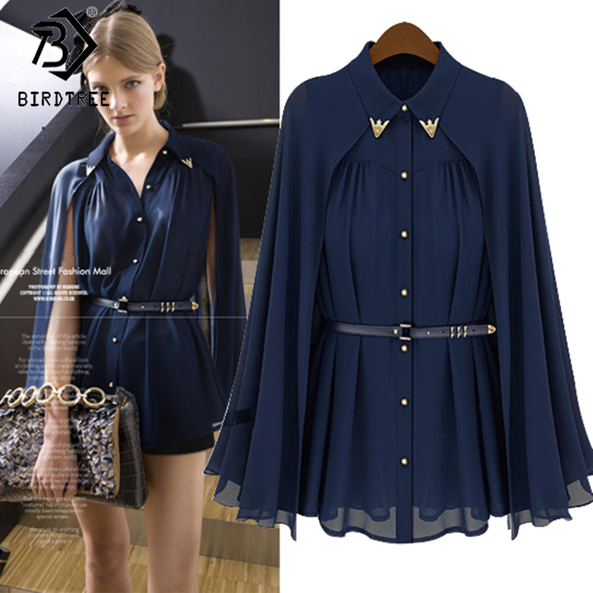 New Arrival Womens Chiffon Cloak   Blouses     Shirts   Tops Ladies Fashion Elegant Navy Blue Beige Chiffon Cloak Sunscreen Tops T81651A