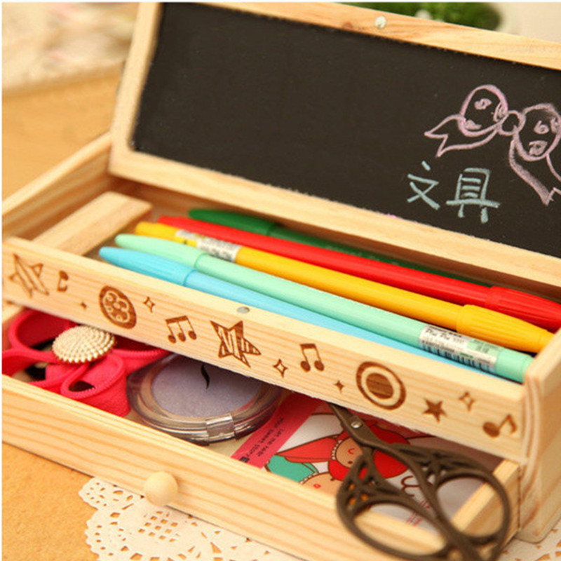 Wooden pencil cases Korean desk accessories pencil box cute pencil case blackboard double layer office supplies stationery case new arrival office school supplies pencil box wood pencil cases unique design wooden pencil cases b034