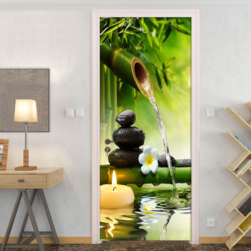 DIY 3D Green Bamboo Scenery Door Stickers Creative PVC Self-adhesive Living Room Door Mural Wall Sticker Poster Photo Wallpaper