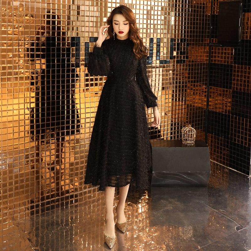 Black Muslim Evening Dresses 2020 A-line Long Sleeves Tea Length Lace Dubai Saudi Arabic Long Elegant Evening Gown LF197