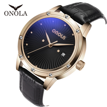 brand ONOLA High Quality Mens Military Watch men,gifts for men Fashion Sports Waterproof Leather strap mens watches GOLD WATCH