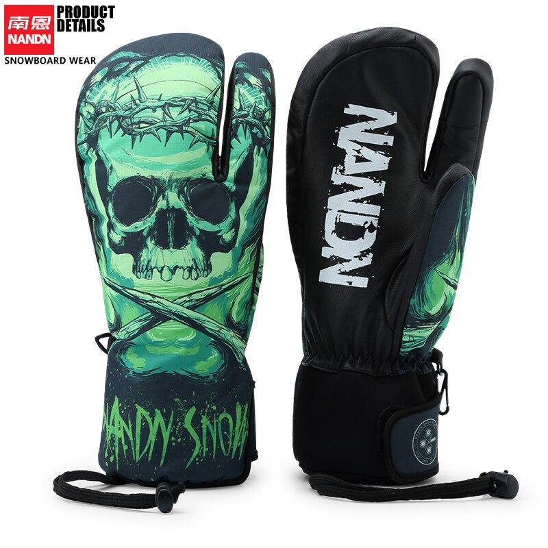 NANDN Skiing glove Palmar leather Waterproof men and women Winter outdoor gloves Snow Gloves