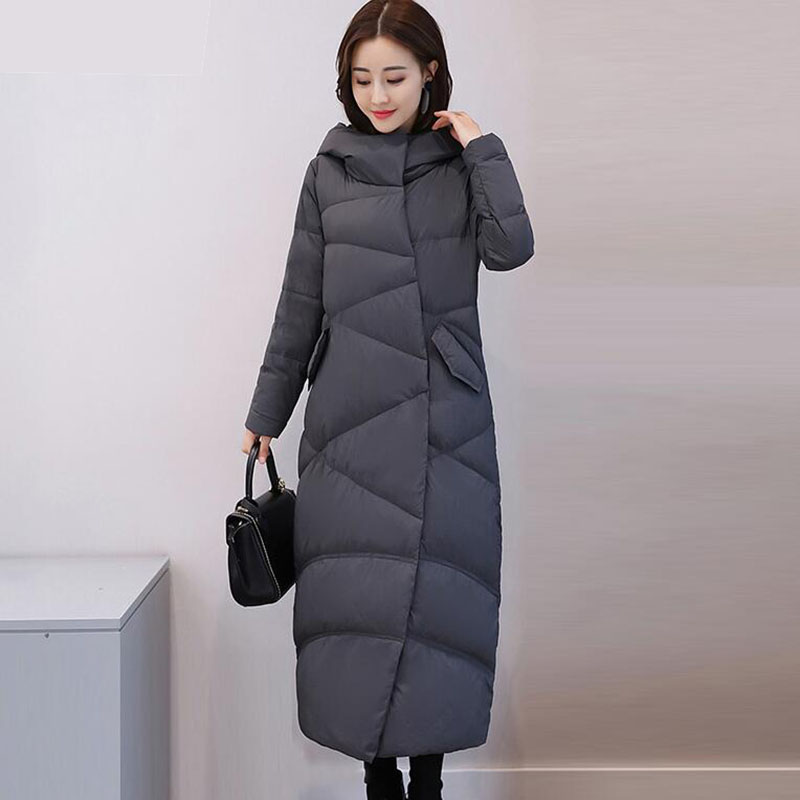 Winter Jacket Women 2018 New Fashion Hooded White Duck Down Jacket Thicken Warm Loose Parkas Women Long Down Coat