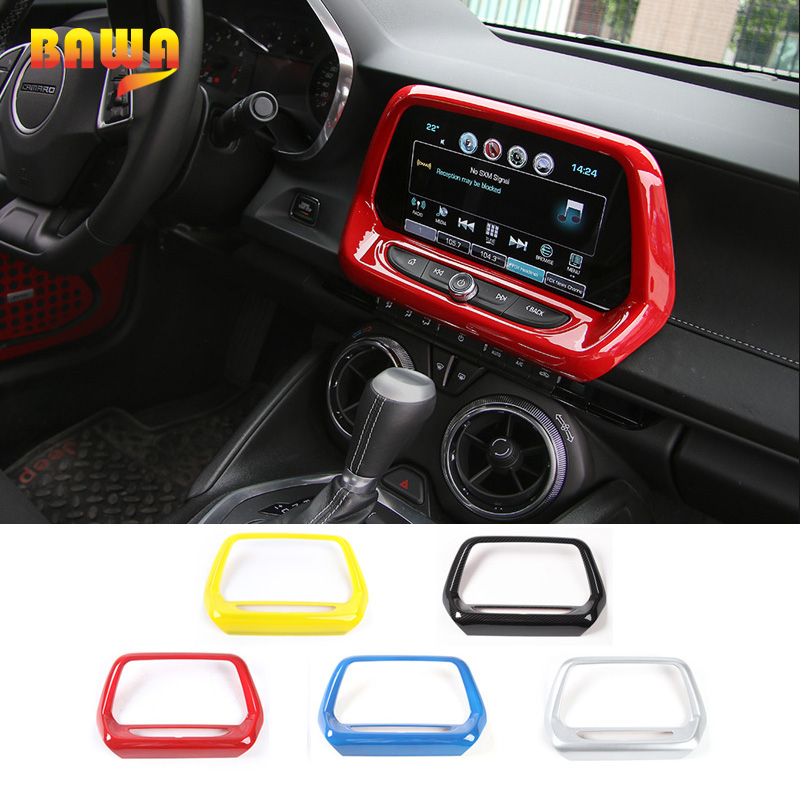 HANGUP Car Interior Navigation GPS Panel Decoration Frame Cover Stickers for Chevrolet Camaro 2017 Up Large