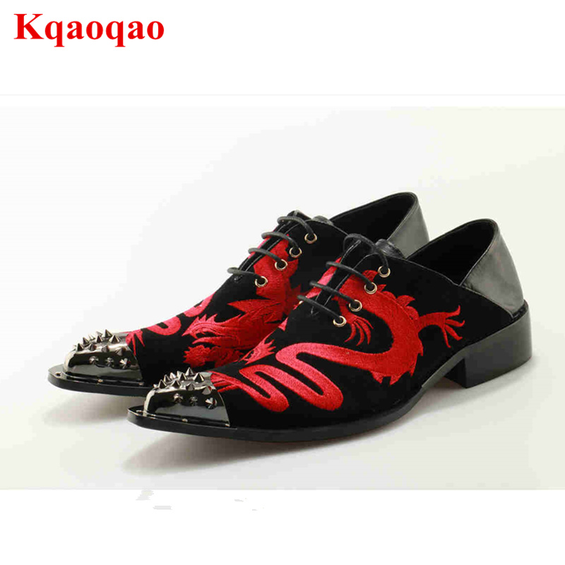 Metal Pointed Toe Decor Red Gold Dragon Animal Embroidered Men Shoes Front Lace Up Low Heel Dress Boot Ankle Botas Short Booties все цены