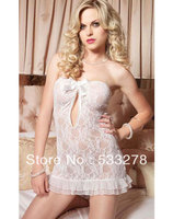 Sexy Burlesque Lingerie for women Strapless Lace Keyhole Chemise Black And White 2 colors  I2630