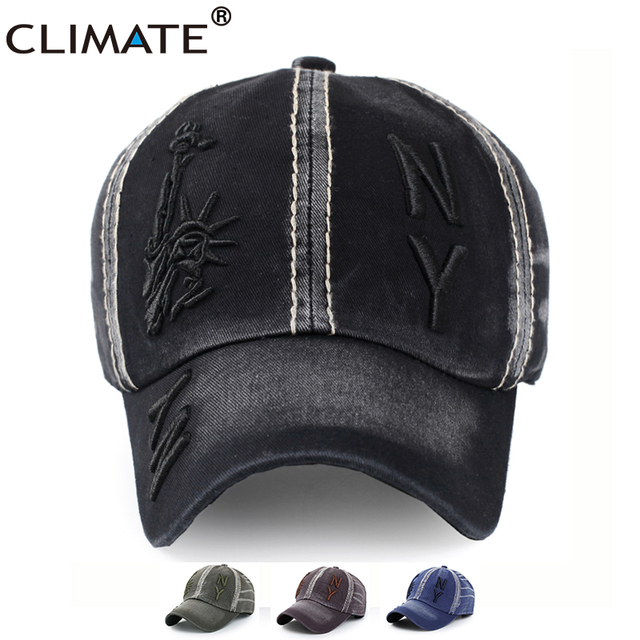 CLIMATE Washed Denim NY 3D Baseball Caps Statue Of Liberty Sports Active  Casual Hat One Size 0200a773410e