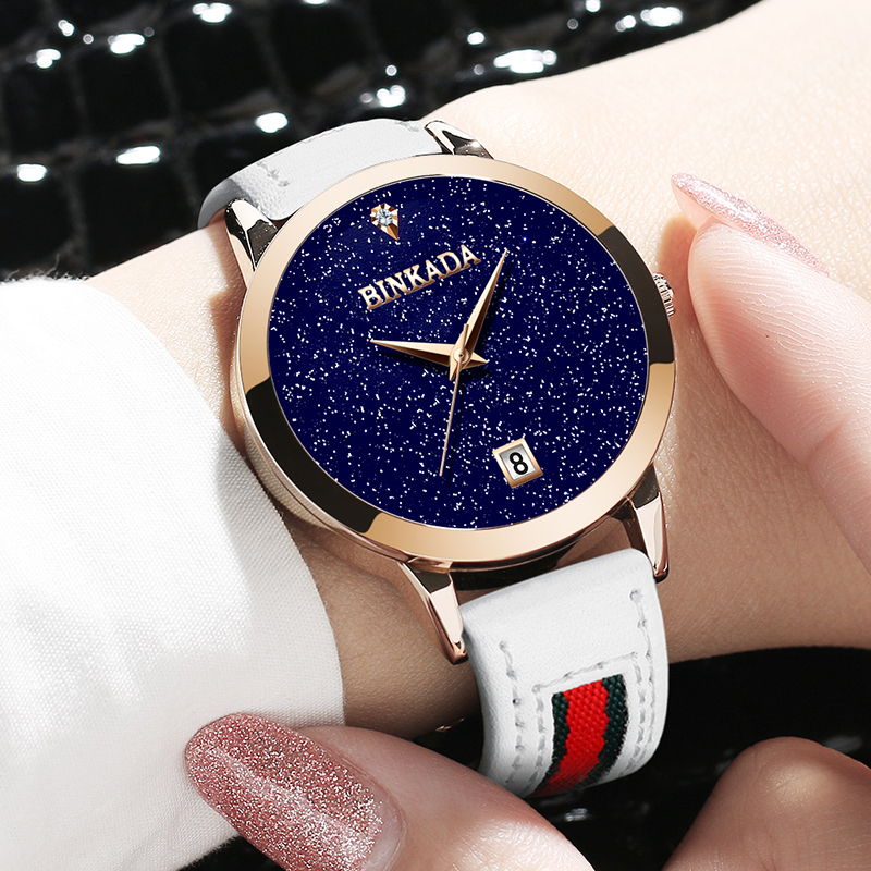 2016 Branded BINKADA Watches Women Gold Luxury 30m Waterproof Genuine Leather Band Round Analog Quartz Wristwatch with Logo2016 Branded BINKADA Watches Women Gold Luxury 30m Waterproof Genuine Leather Band Round Analog Quartz Wristwatch with Logo