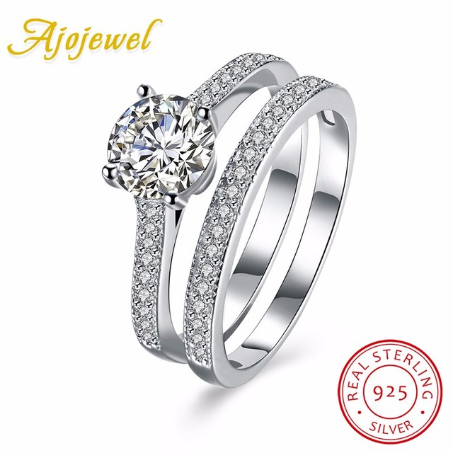 Ajojewel Real 925 Sterling Silver Jewelry Wedding Rings Set For Women Bague Femme Brilliant Zircon Engagement Ring