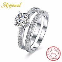 Ajojewel Real 925 Sterling Silver Jewelry Wedding Rings Set For Women Bague Femme Brilliant Zircon Engagement