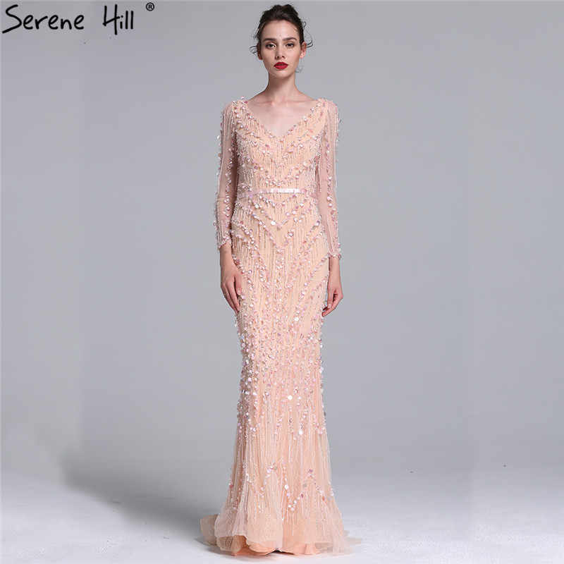 bd83cc52bc Dubai Robe De Soiree Luxury Long Sleeve Evening Dresses 2019 Real Photo  Crystal Sequins Navy Blue Mermaid Party Gown BLA6010
