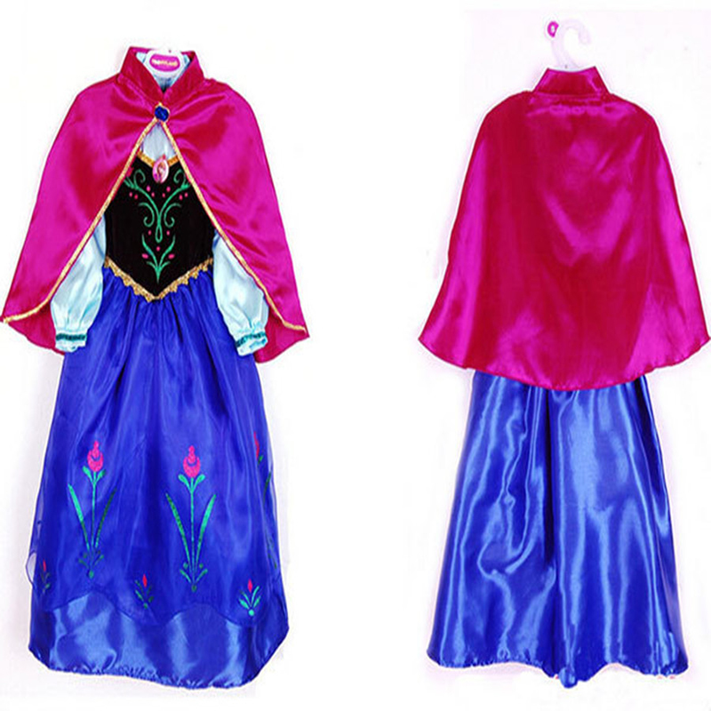 NEW 2017 Dresses For Girls Cosplay Party Anna Elsa Dress Snow Queen Beautiful Chiffon Baby Girls Fantasia Dress Kids Costume