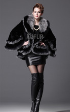 Black Wrap Genuine Rex Rabbit Fur Shawl Big Turn-down Collar Women Real Fur Stole Winter Warm Large Outwear Poncho Cape AU00428