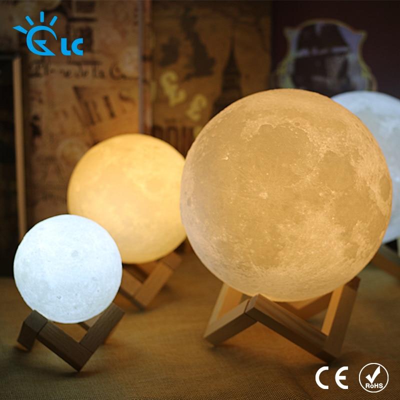 Светодиодный свет луны 3D принт Перезаряжаемые волшебный светодиодный Luna ночник 8 см 9 см 10 см 15 см 18 см 20 см moon лампа настольная Touch ...