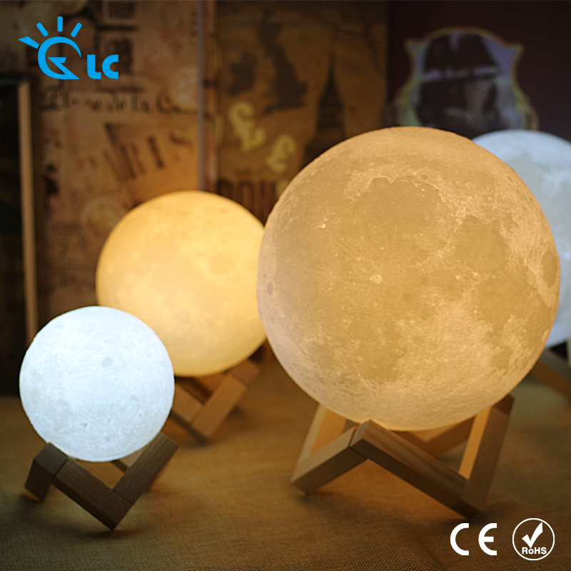 LED Moon light 3D Print Rechargeable Magical LED Luna Night Light 8CM 9CM 10CM 15CM 18CM 20CM moon Lamp Desk Touch 3d magical moon lamp usb led night light moonlight touch sensor color changing night light 8 10 13 15 18 20cm christmas gift