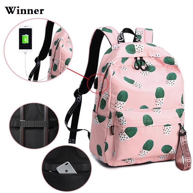 15.6Waterproof USB Anti Theft Backpack Laptop Women Cactus Book bag School Bag Female Bagpack for Teenage Girls Knapsack Pink