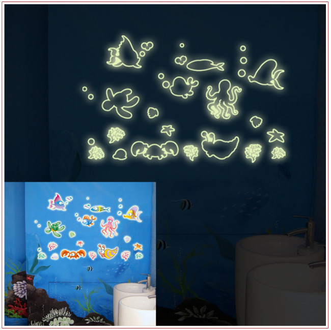 Online Shop Cool Kids Room Decoration Removable Stickers Glow In The Dark  Sea Creatures Wall Sticker 40CMx25CM PVC Wall Decals PN156 | Aliexpress  Mobile Part 62