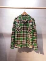 2018 Новинка осени рубашка высокого качества для женщин вышивка Зеленый рубашка в клетку блузка