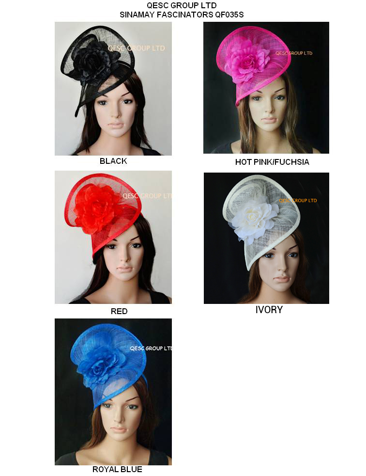 Wholesale NEW Sinamay headband fascinator sinamay party hat in SPECIAL shape with silk flower 5 colors