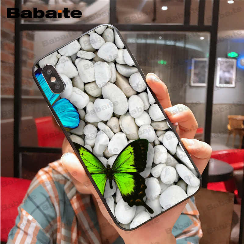 brand new e2998 3a0bd Red butterfly white stone roses flower Fundas Phone Case Cover for iPhone X  XS MAX 6 6s 7 7plus 8 8Plus 5 5S SE XR Babaite