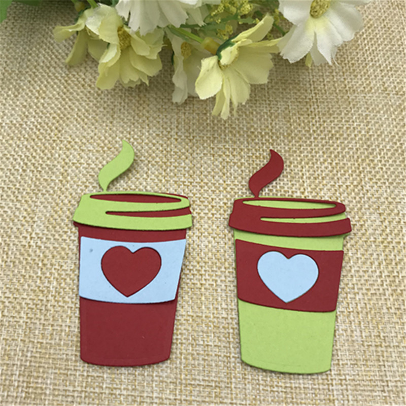 Coffee Cup Set Heart Holiday Metal Cutting Dies Stencil For DIY Scrapbooking Embossing Album Paper Cards Decorative