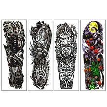 4Pcs/Lot Waterproof Temporary Tattoos Sticker Full Arm Mechanical Pattern Tattoos Applique Arm Full Arm Tattoos Sticker 48 x17 4pcs lot waterproof temporary tattoos fish skull color full arm mechanical pattern tattoos applique arm full arm tattoos stick