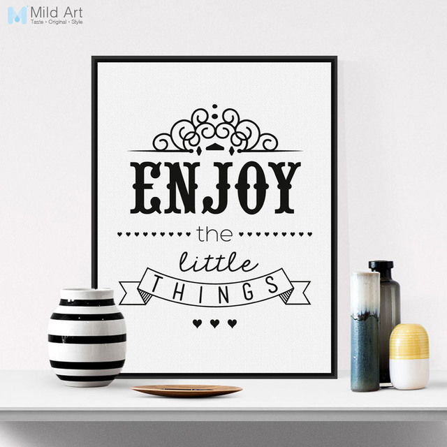 Black White Vintage Retro Motivational Enjoy Quotes Typography ...