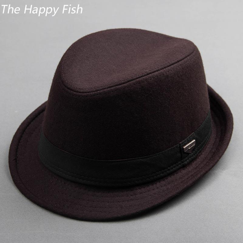 Detalle Comentarios Preguntas sobre Vintage Fedora sombrero negro sombreros  para los hombres sombrero de fieltro de lana para hombre sombreros de ala  en ... cfdba1e7a2d