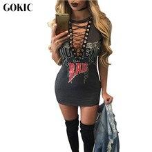 GOKIC Letter Print Sexy Short Dress Summer T Shirt Dress 2017 Women V Neck Lace Up Bodycon Bandage Party Dresses Vestidos
